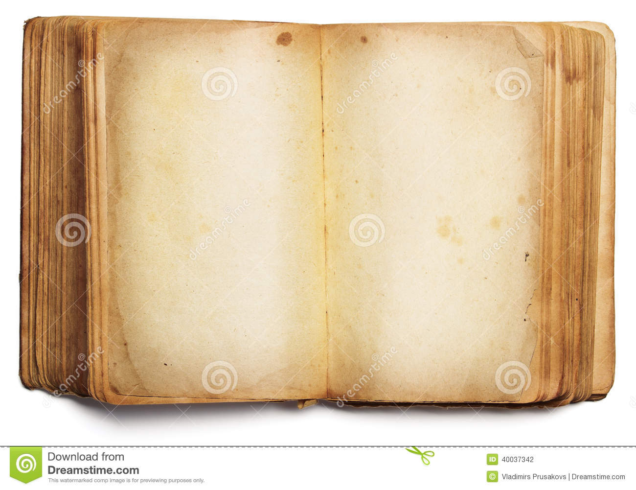 Old book open blank pages, empty paper isolated on white