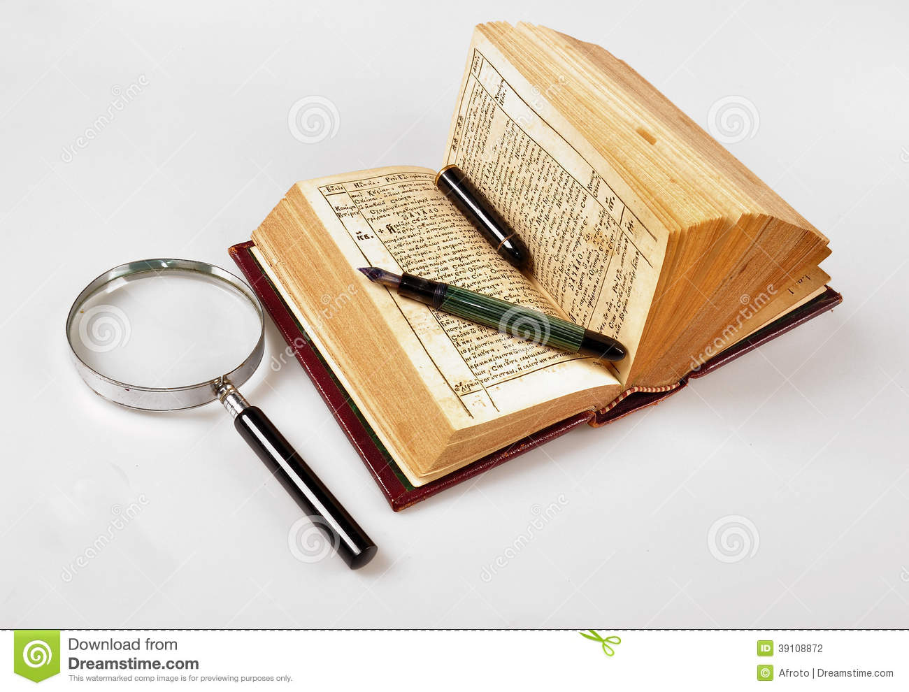 Old Book,pen And Magnifie Stock Photo - Image: 39108872