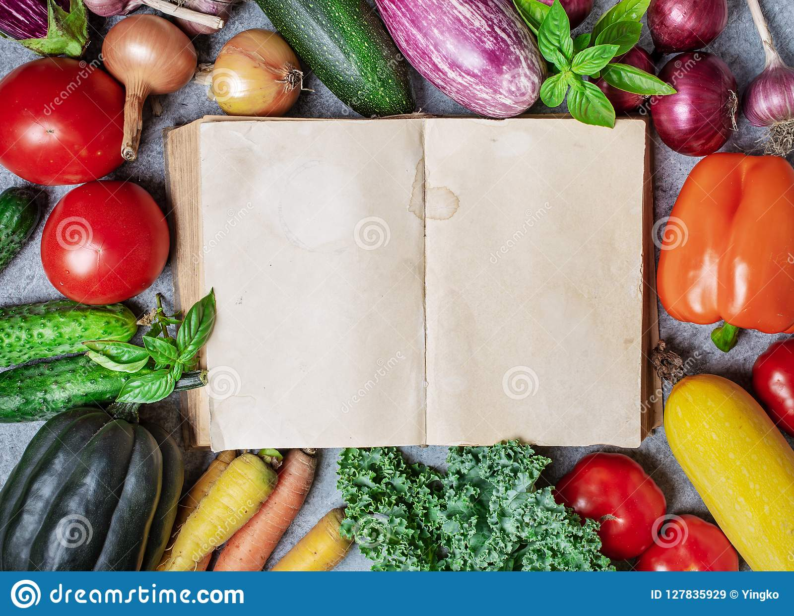 Old book and vegetables