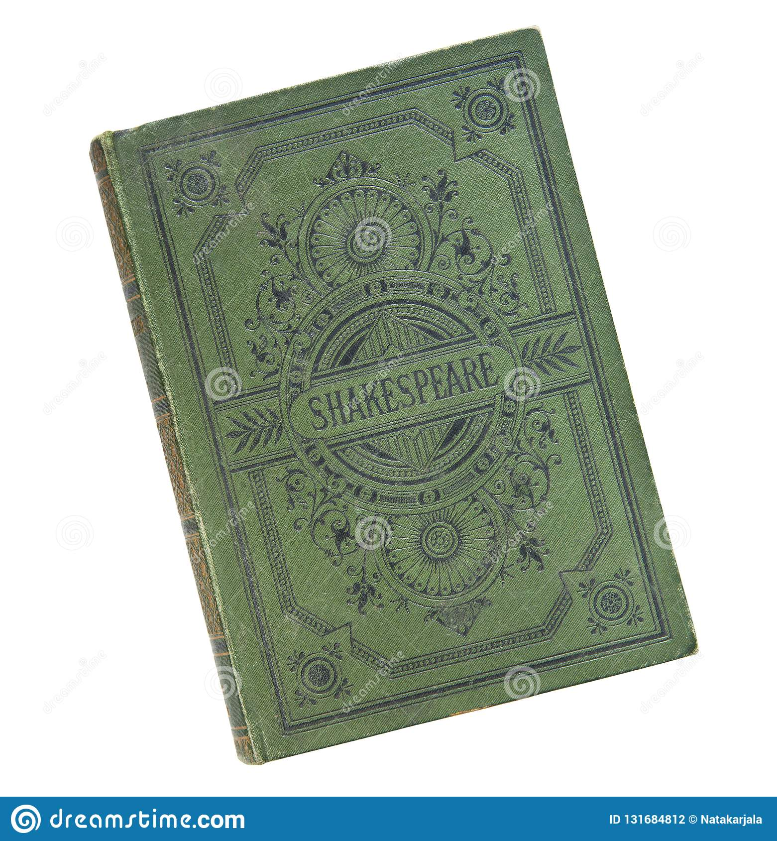 Old book vintage book cover isolated on white background. Old inscription Shakespeare