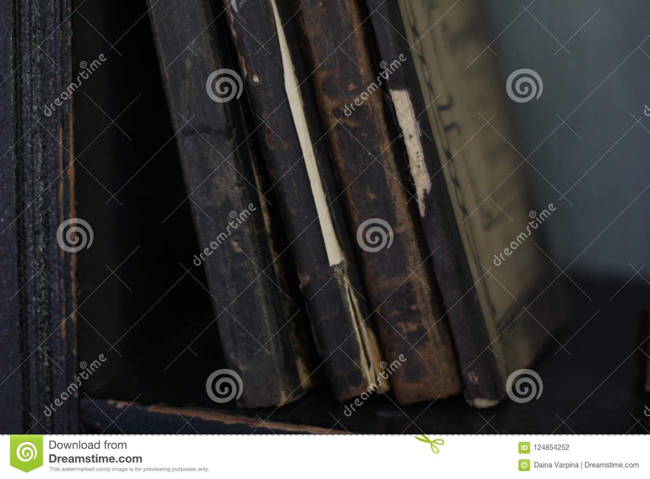 Download Old Books On Bookshelf With Vintage Bindings And Beautiful Gilded Leather Book