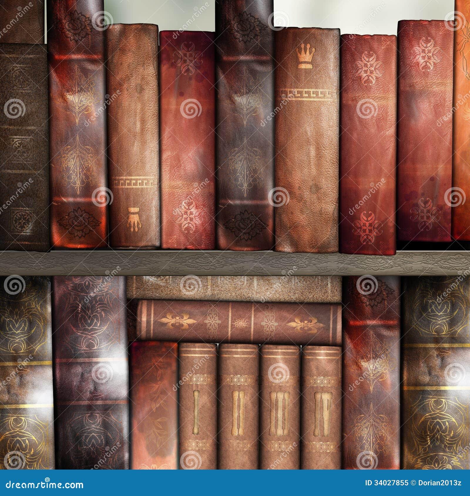 Old Books, Library Stock Image. Image Of Bookshelf