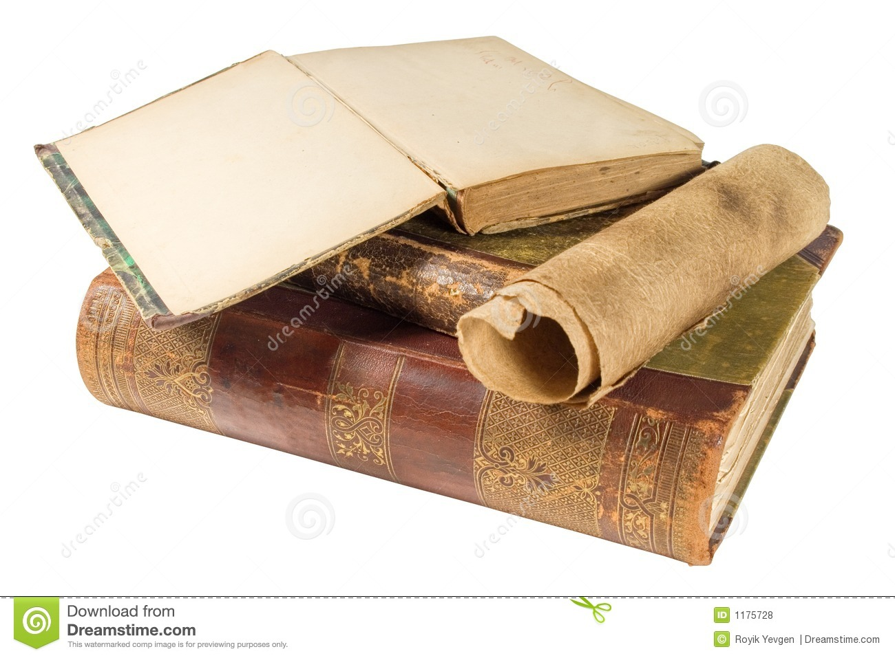 Old Books And Paper Scroll Royalty Free Stock Photos - Image: 1175728