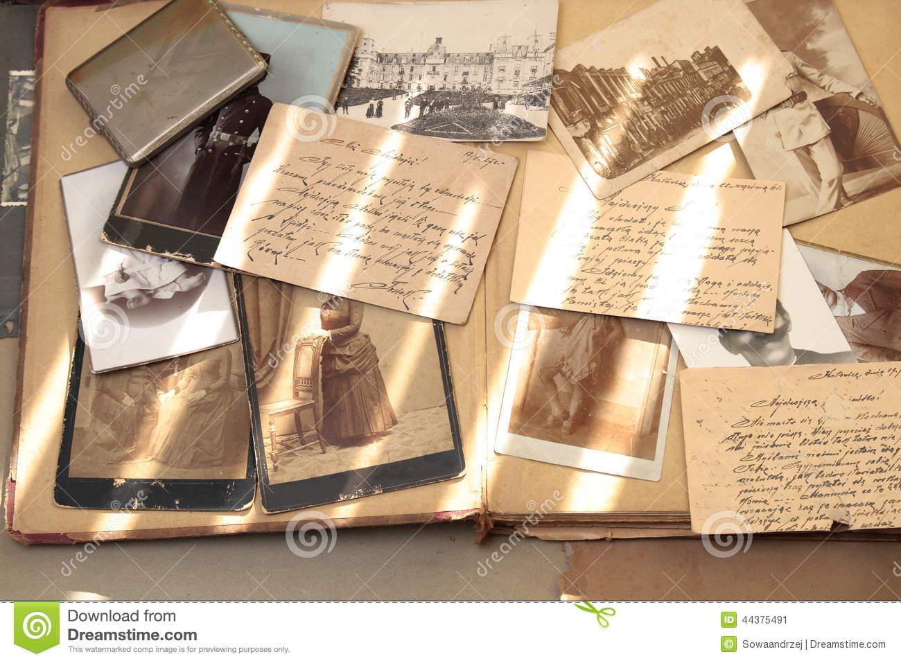 Old books, postcards, letters and photos.