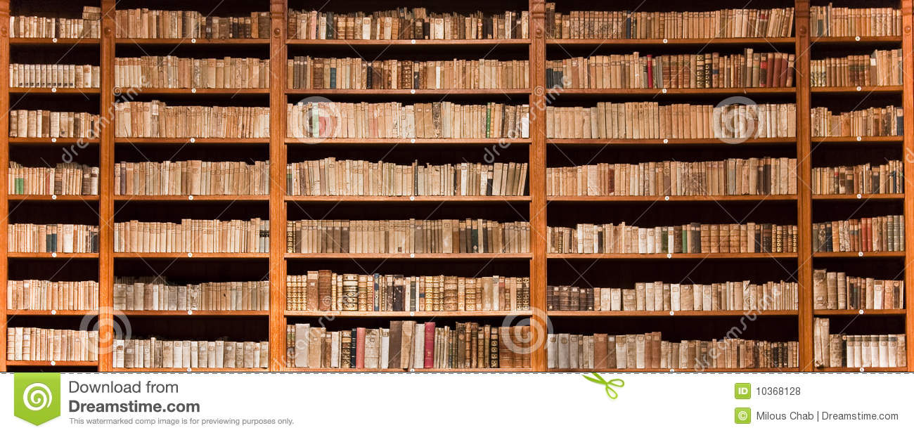 Old Books In Wooden Bookcase Royalty Free Stock Photos - Image ...