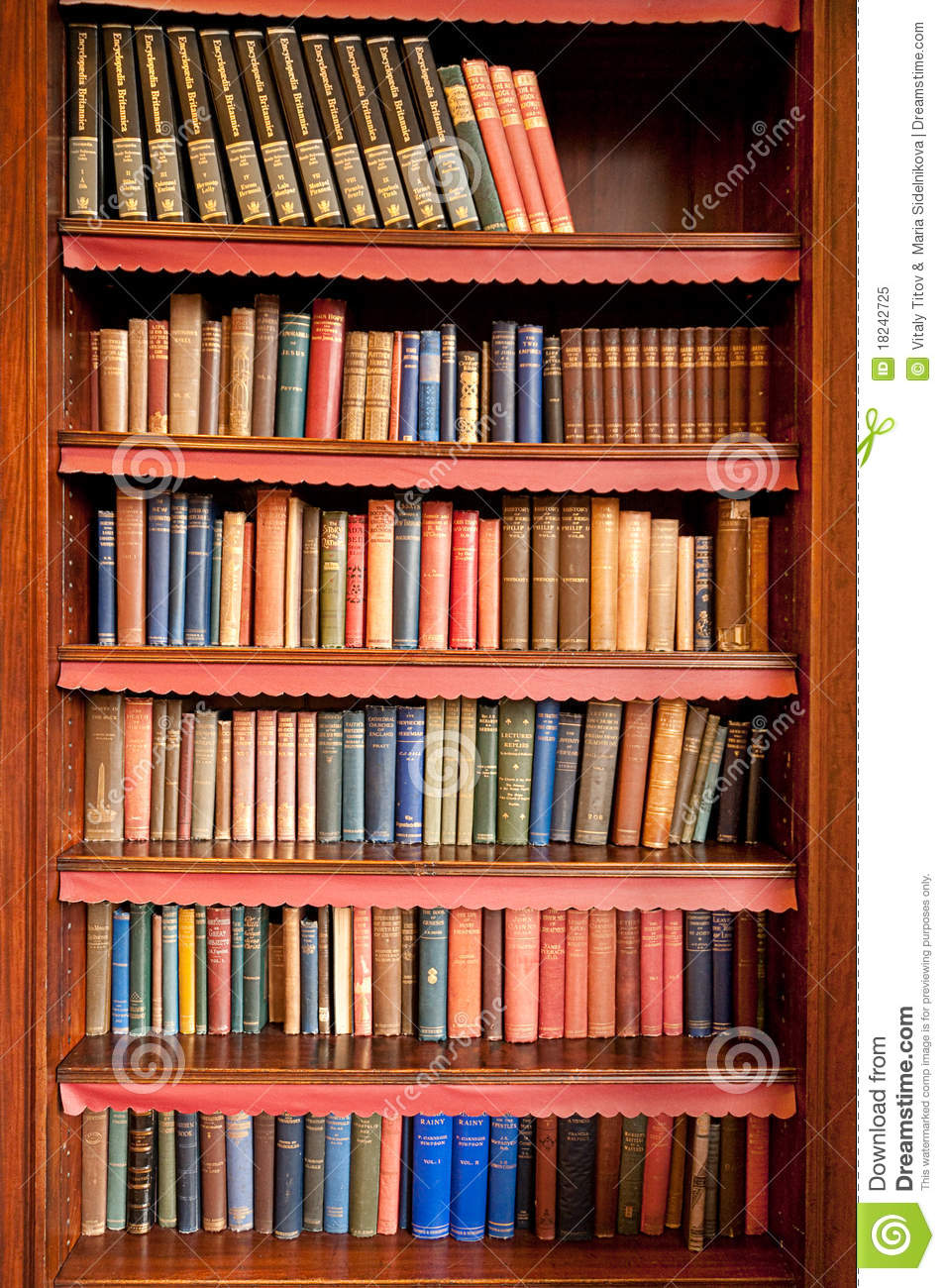 Old Bookshelf In Ancient Library Royalty Free Stock Photo