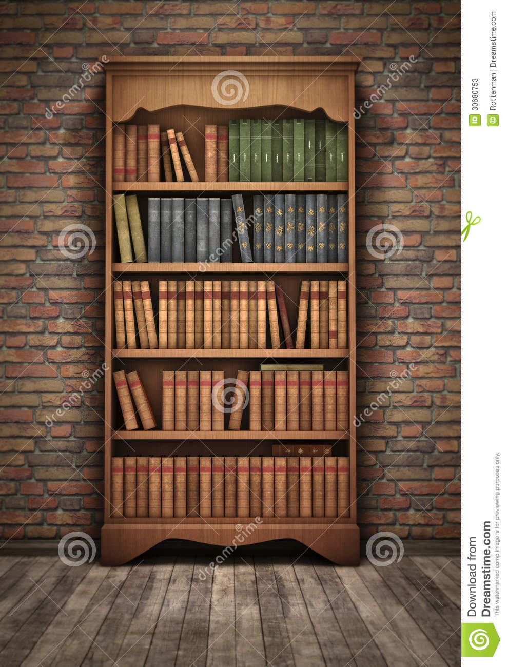 Old bookshelf in room stock illustration. Illustration of information - 30680753