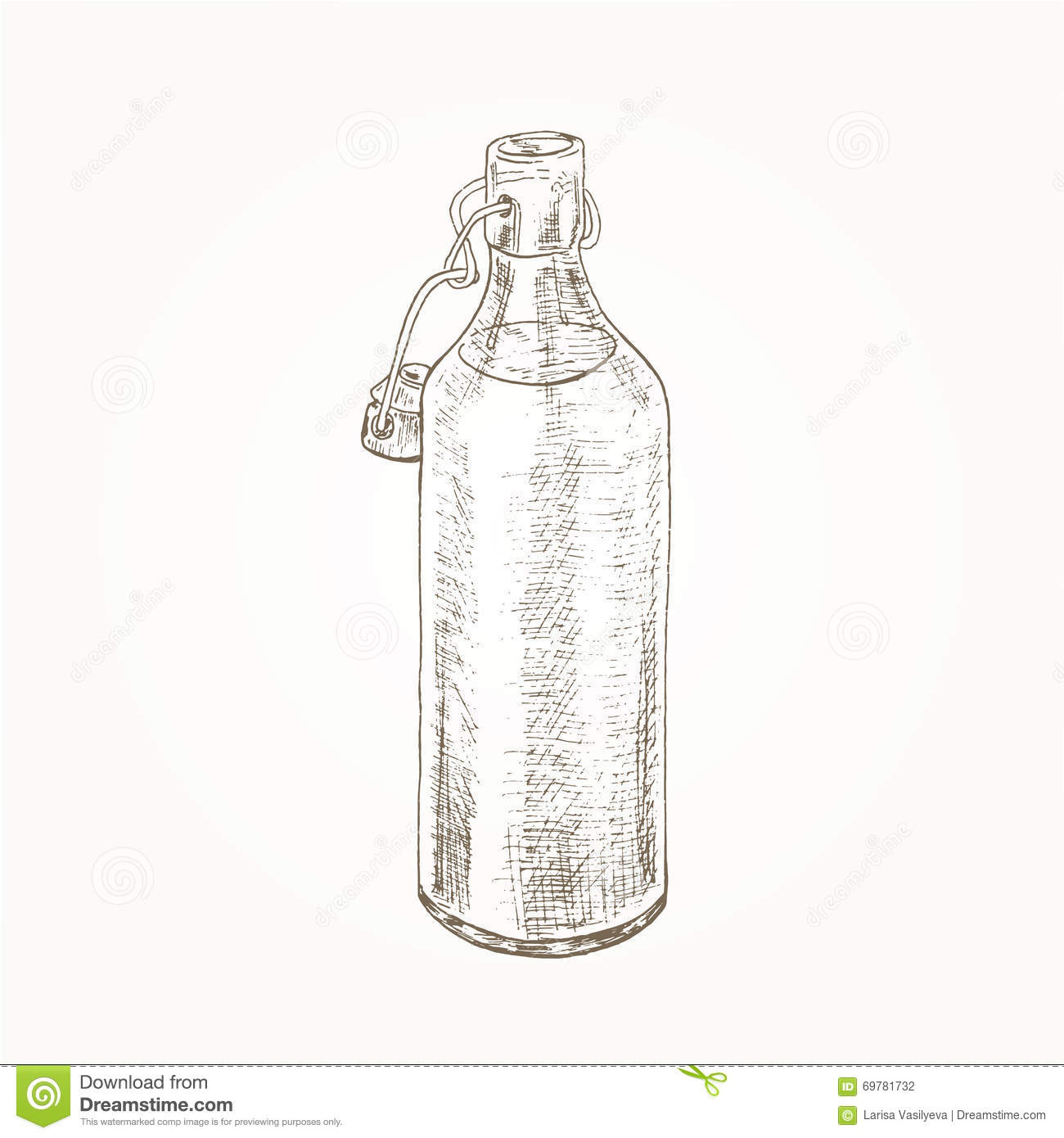 Old Bottle Sketch Illustration 69781732