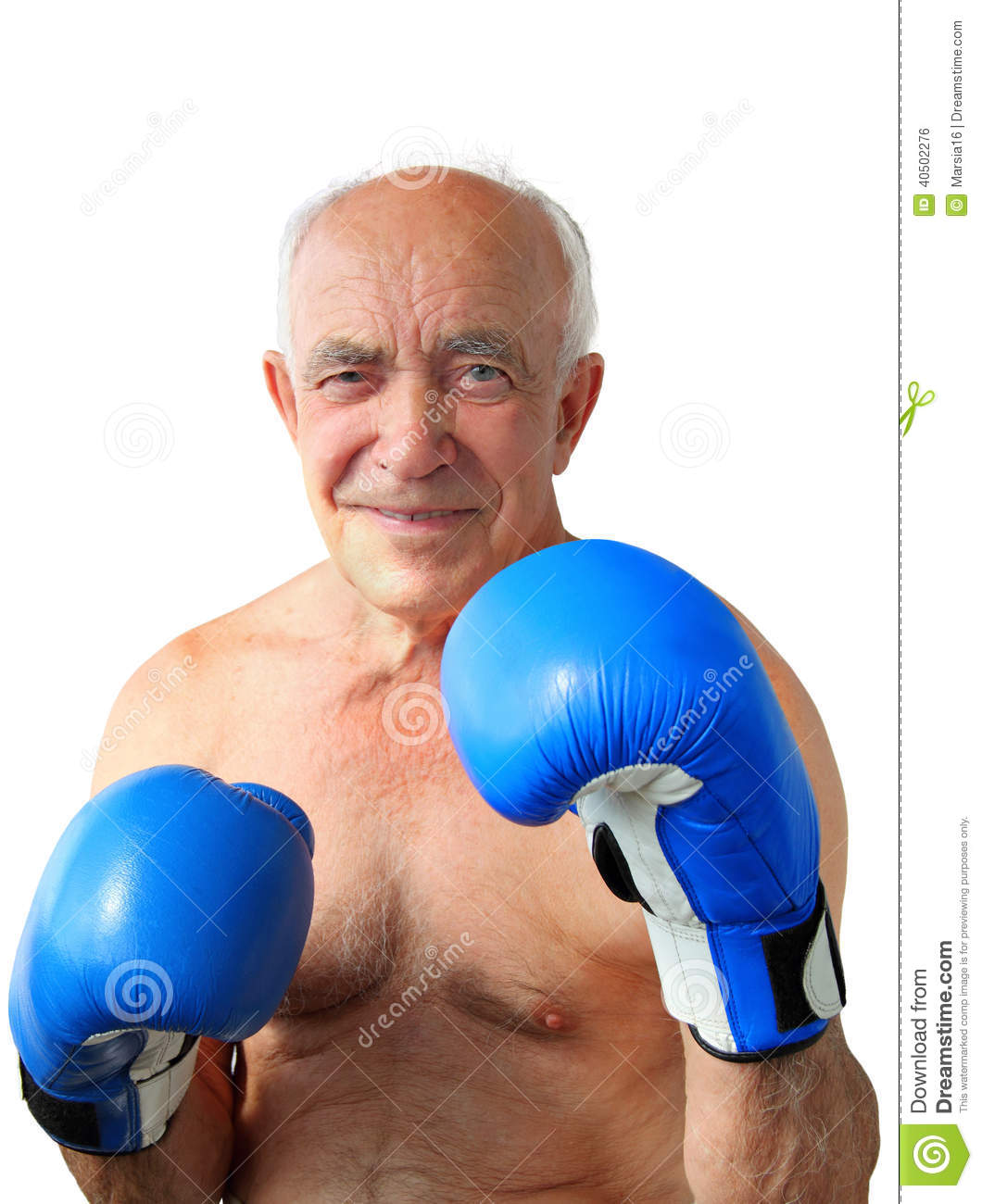 Portrait of an old smiling boxer with boxing blue mittens isolated on ...