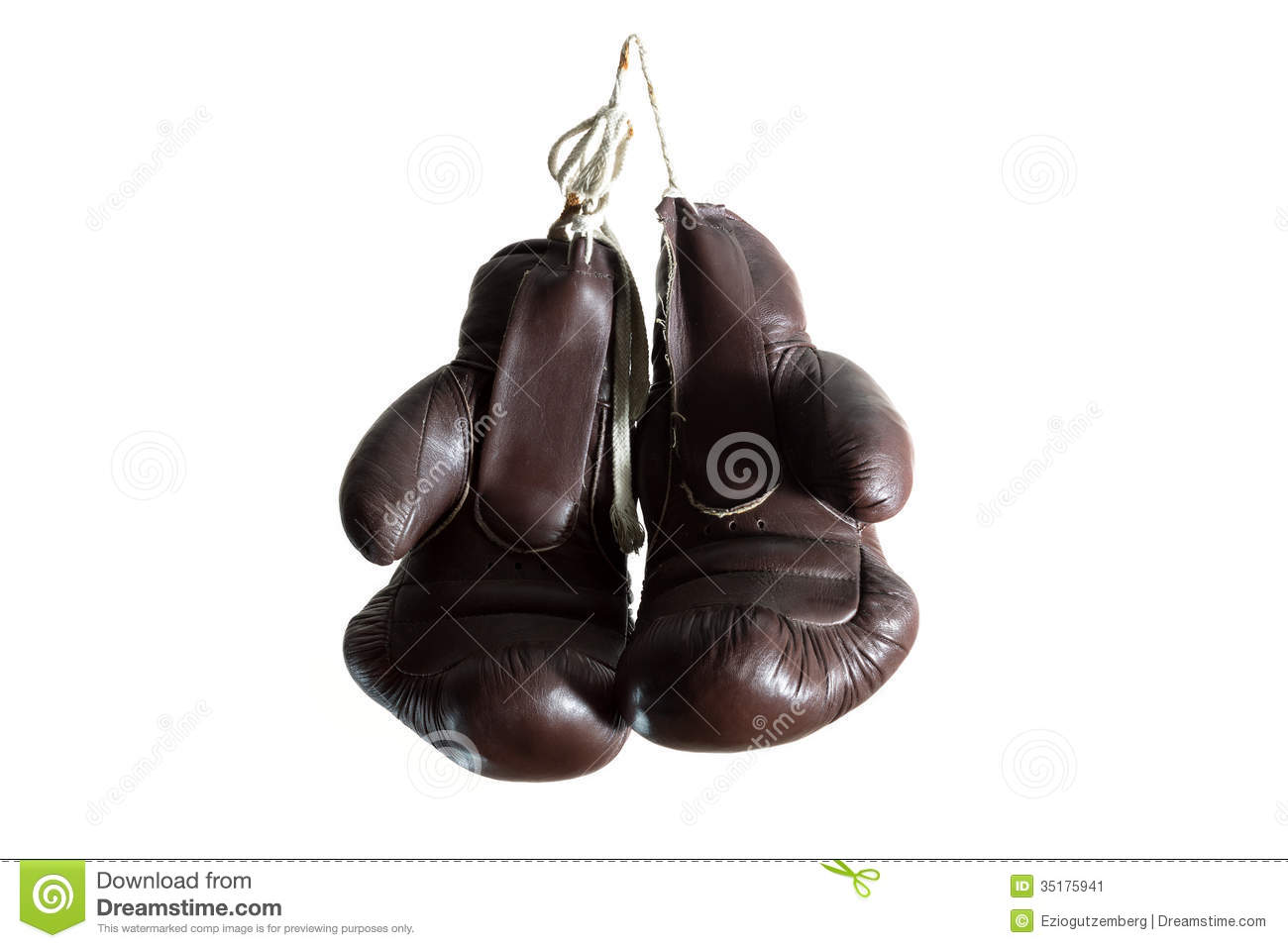 Old Boxing Gloves Hanging Isolated On White Background