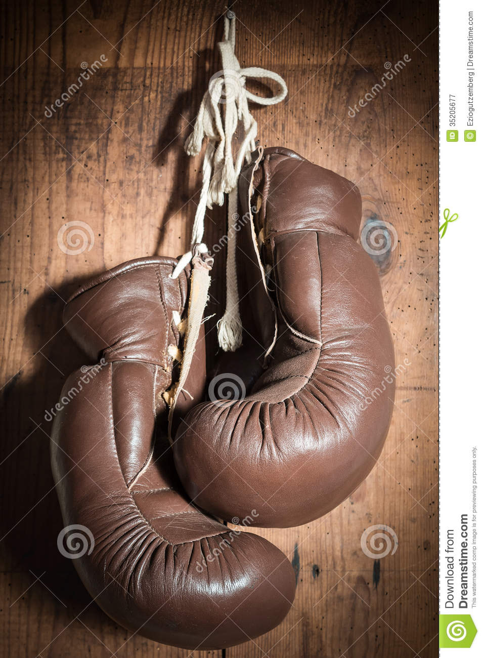 Old Boxing Gloves, Hanging On Wooden Wall Royalty Free ...