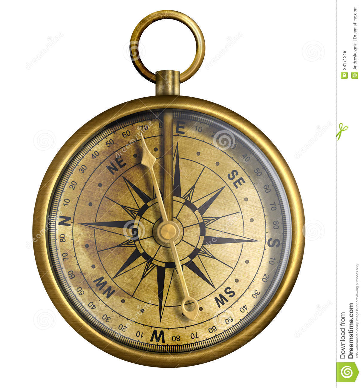 Old Brass Or Antique Bronze Compass Isolated Royalty Free Stock Photos ...