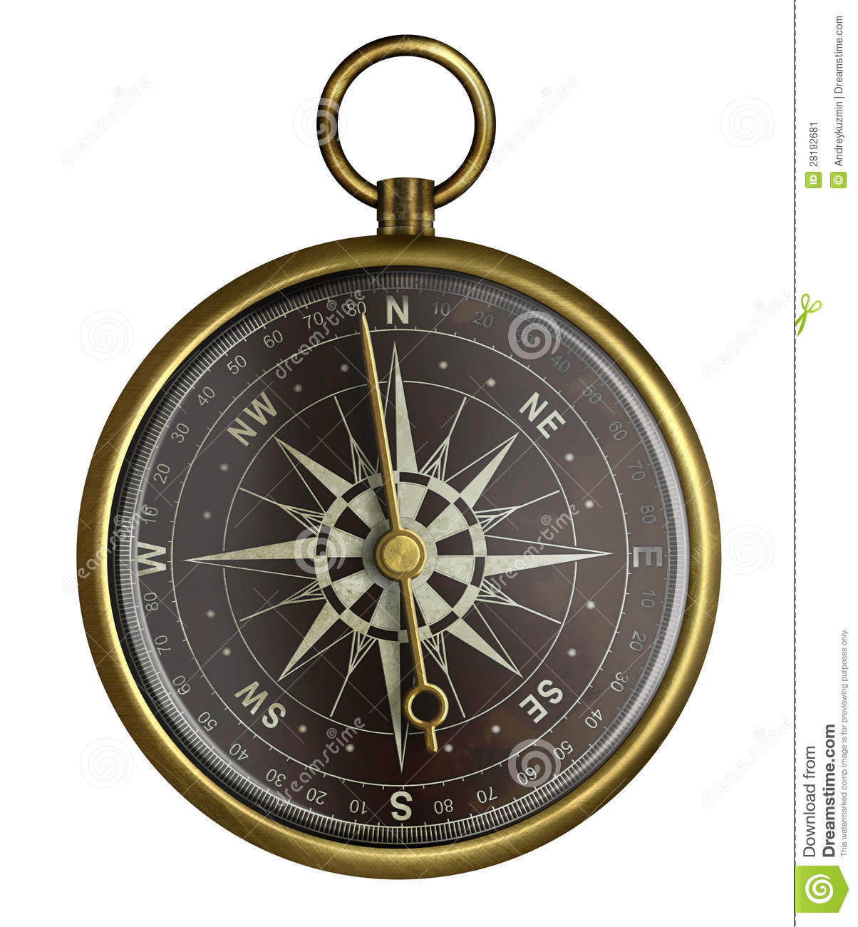 Old Brass Antique Compass With Dark Face Isolated