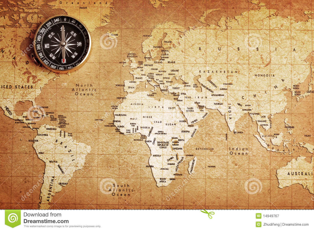 ... On A Treasure Map Royalty Free Stock Photography - Image: 14949767