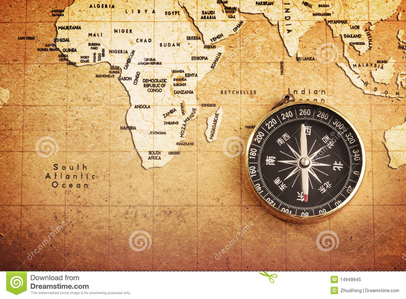 Old Brass Compass On A Treasure Map Stock Image Image 14949945