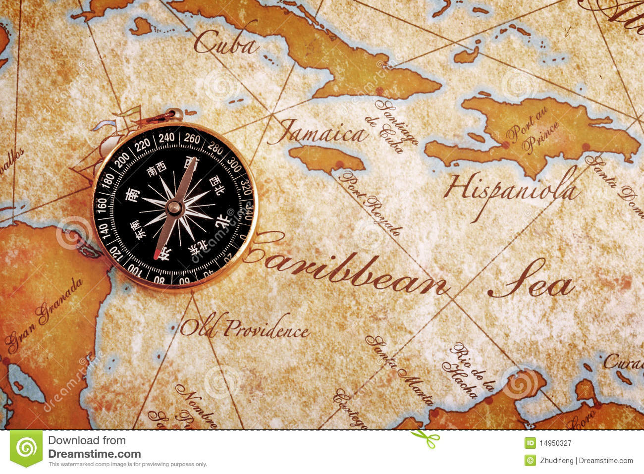Old Brass Compass On A Treasure Map Stock Image - Image ...