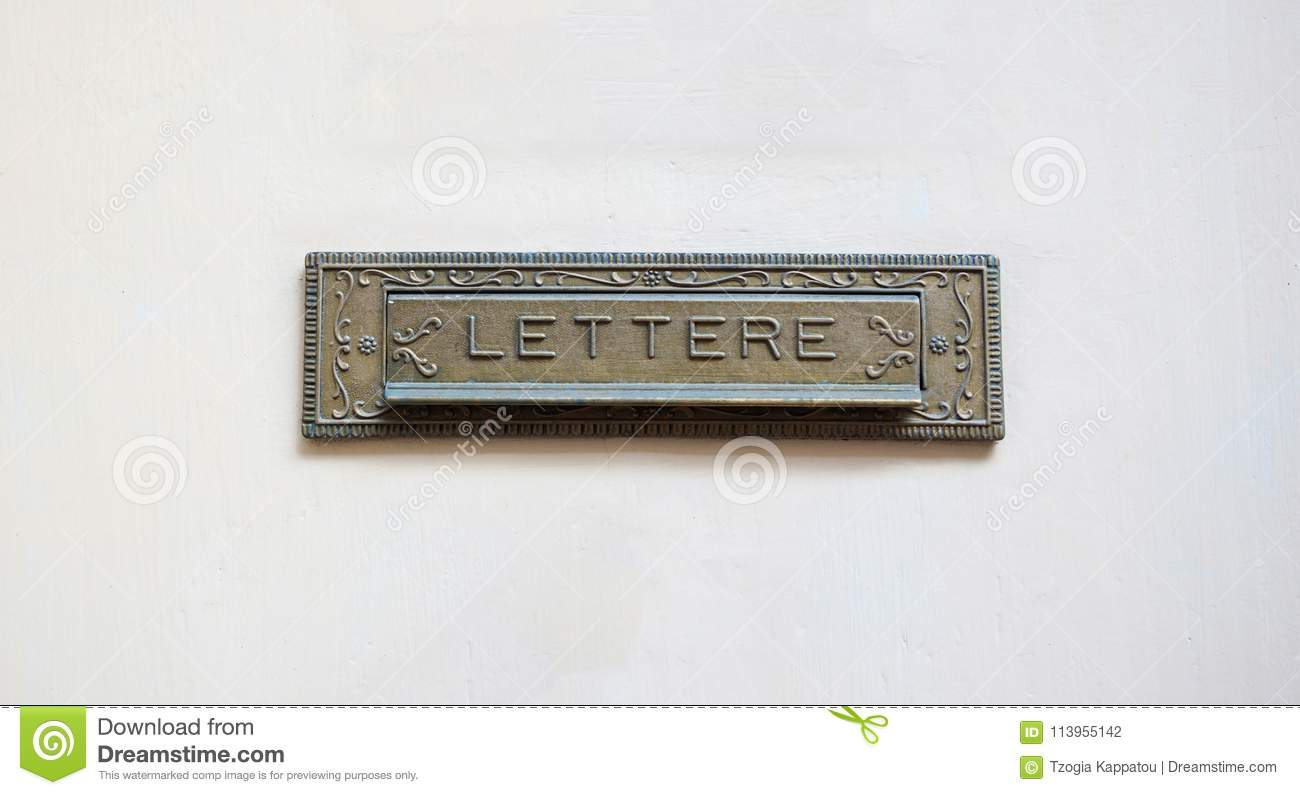 Old Mail Letter Box On A White Front Door Text Lettere Stock Photo