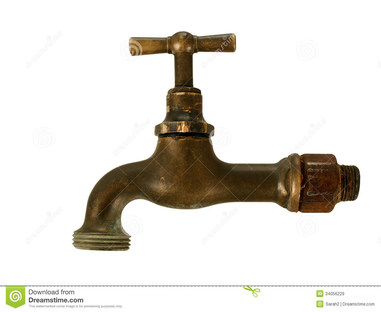 Old Brass Tap Faucet Isolated Over White Stock Image