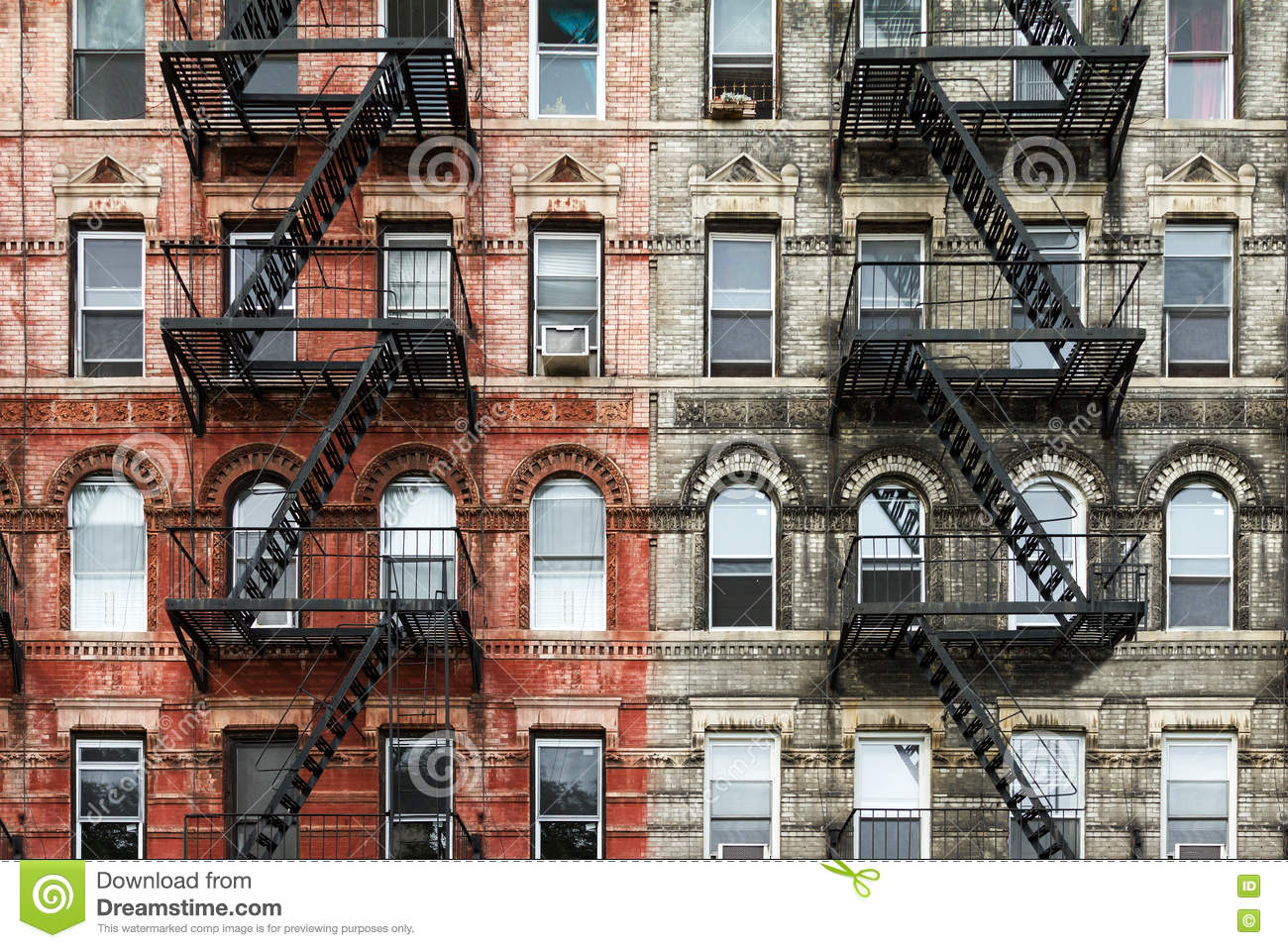 Old Brick Apartment Buildings in New York City