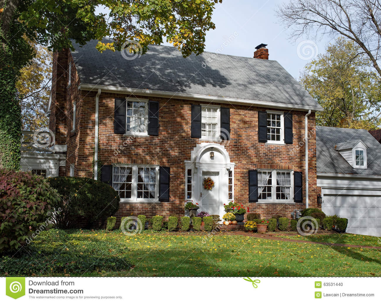 Georgian Style House Plans Old Brick Country Home In Autumn Stock Photo Image 63531440