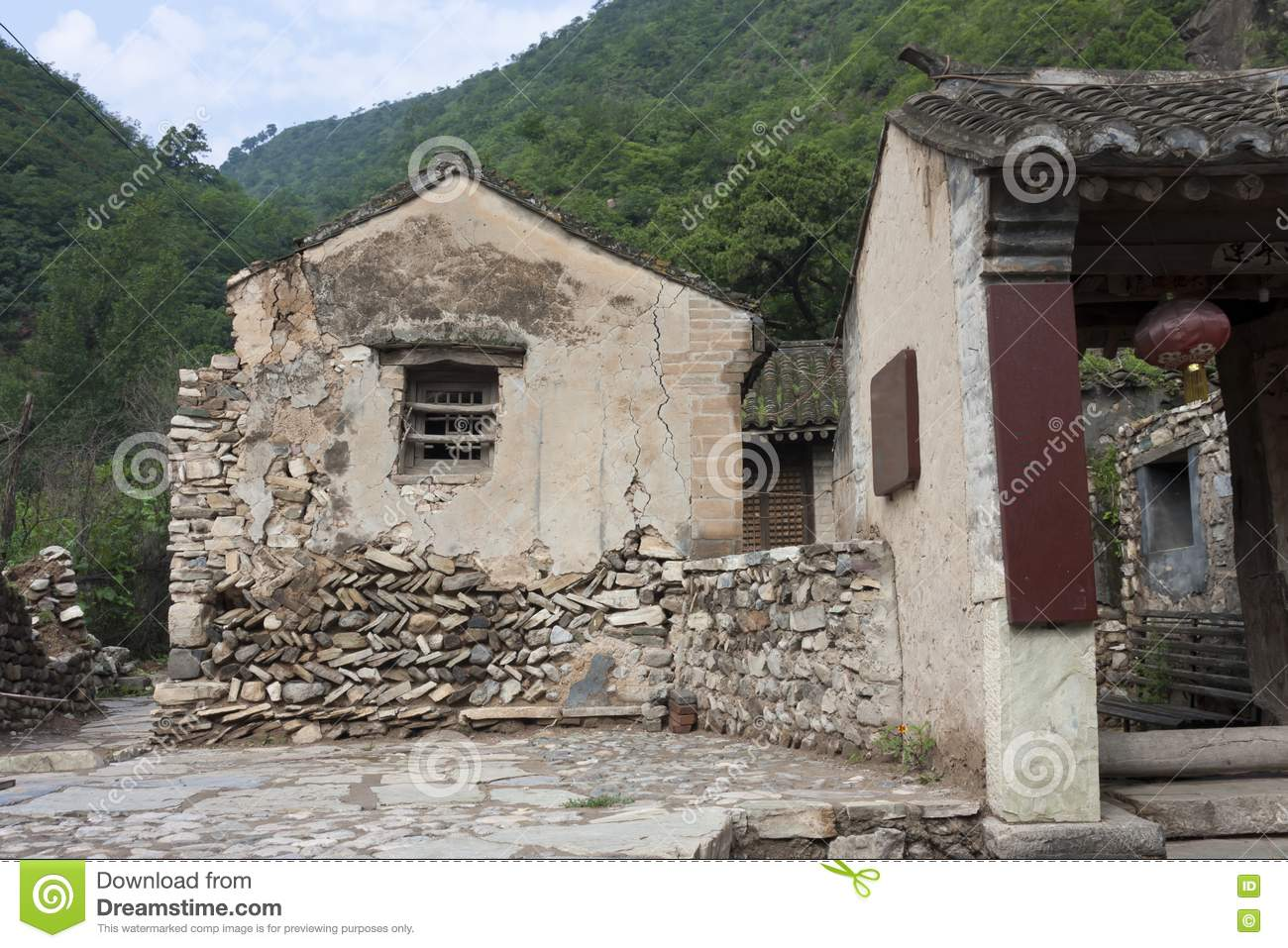 The Old Brick House Of The Ancient Village Stock Image