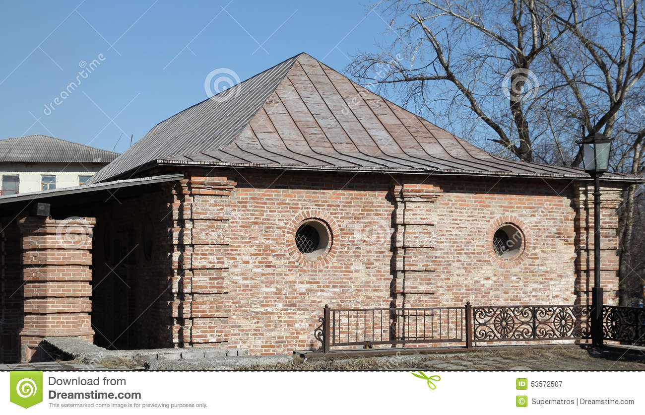 Old brick house with small round windows stock photo image 53572507 - Small belgian houses brick ...