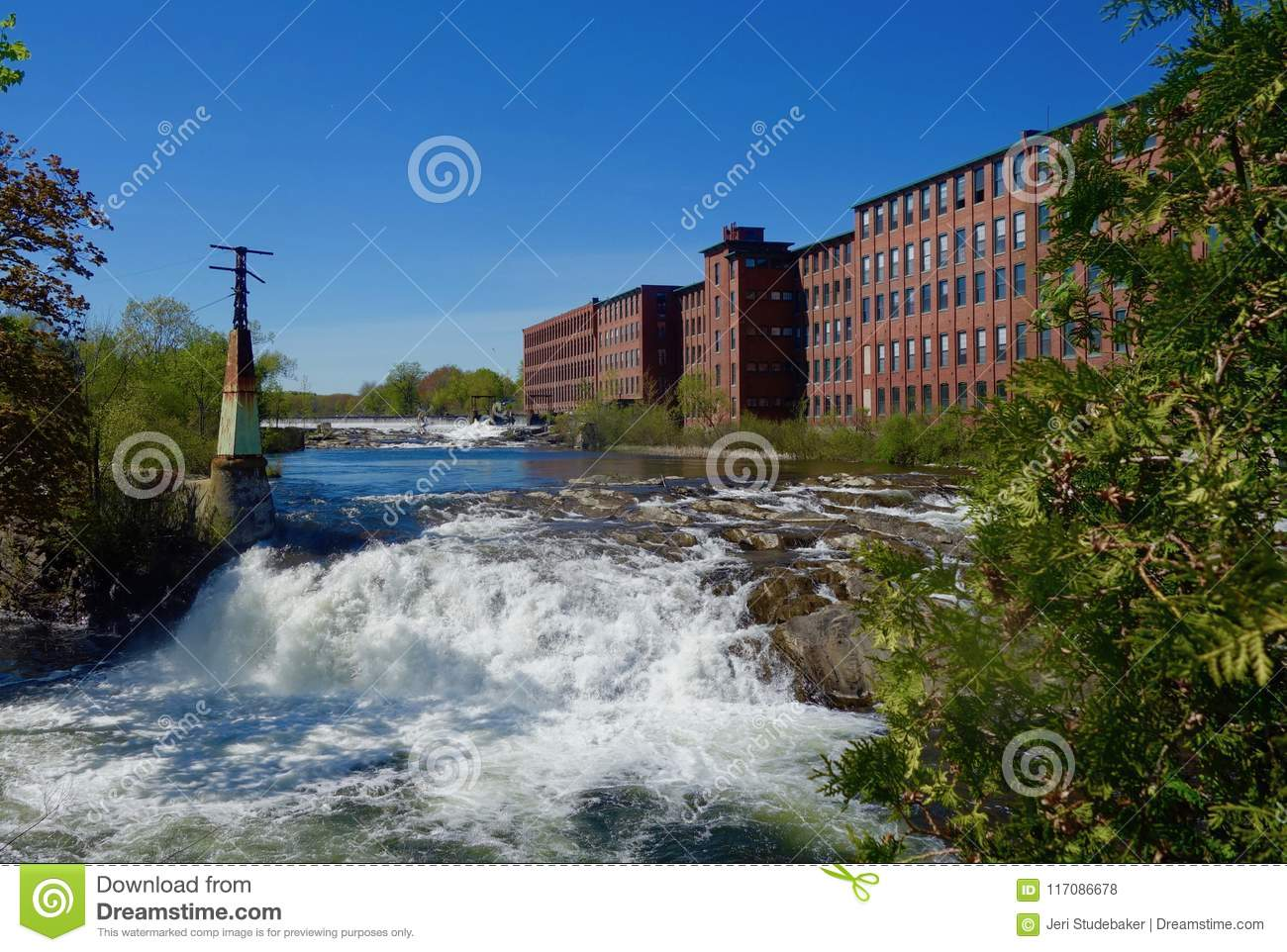 Old Brick Mill Building, Waterfall, River, On Bright Sunny ...