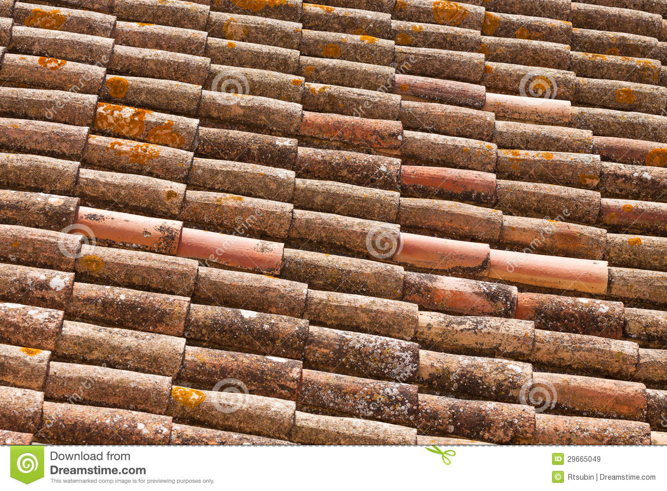 Old Brick Roof Tiles From Spain Stock Image Image Of