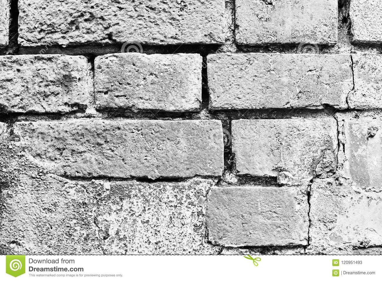 Old brick wall background black and white