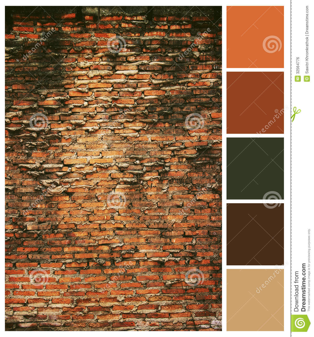 Brick Wall Design Manual : Old brick wall background colored palette guide royalty