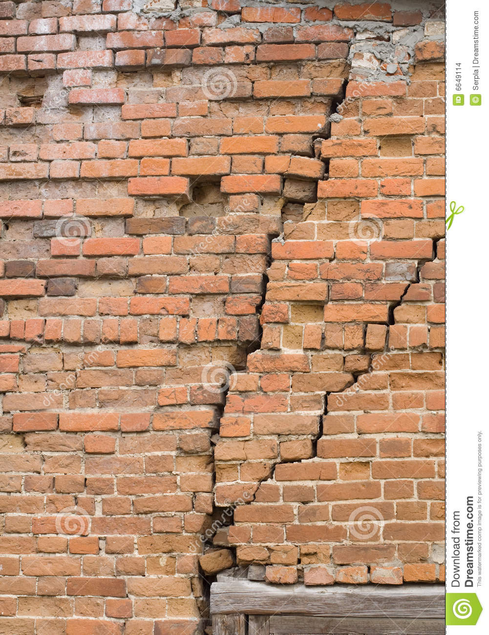 Old Brick Wall With Cracks Stock Images Image 6649114