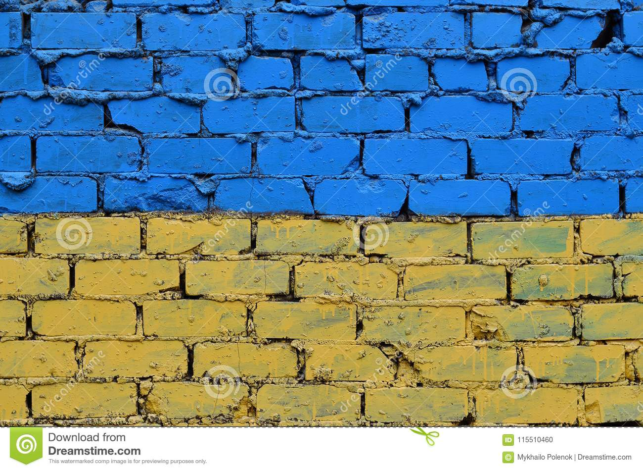 Old Brick Wall Painted In The Colors Of The Ukrainian Flag Stock ...