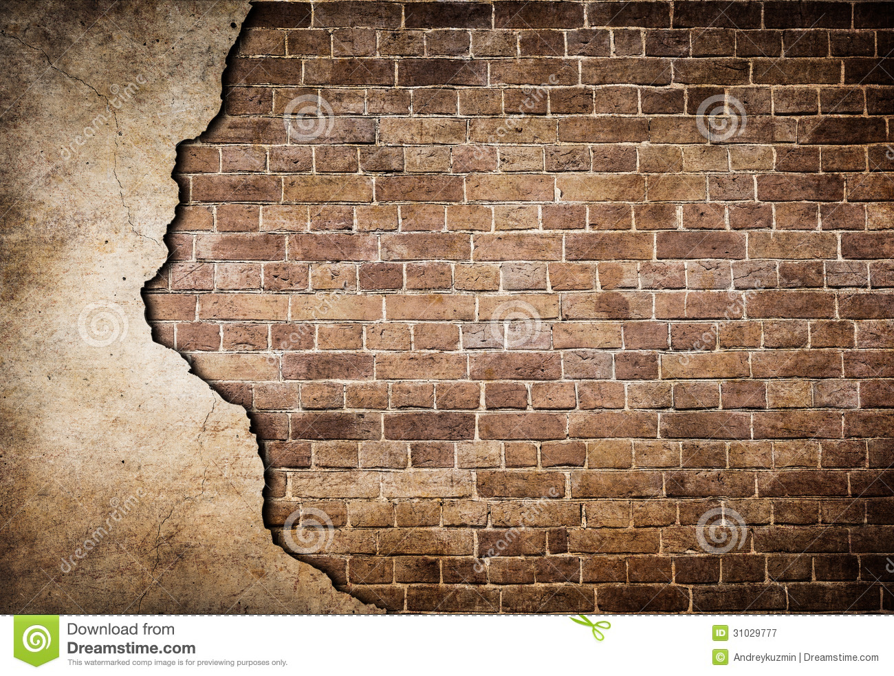 old brick wall with stucco partially damaged stock image. Black Bedroom Furniture Sets. Home Design Ideas