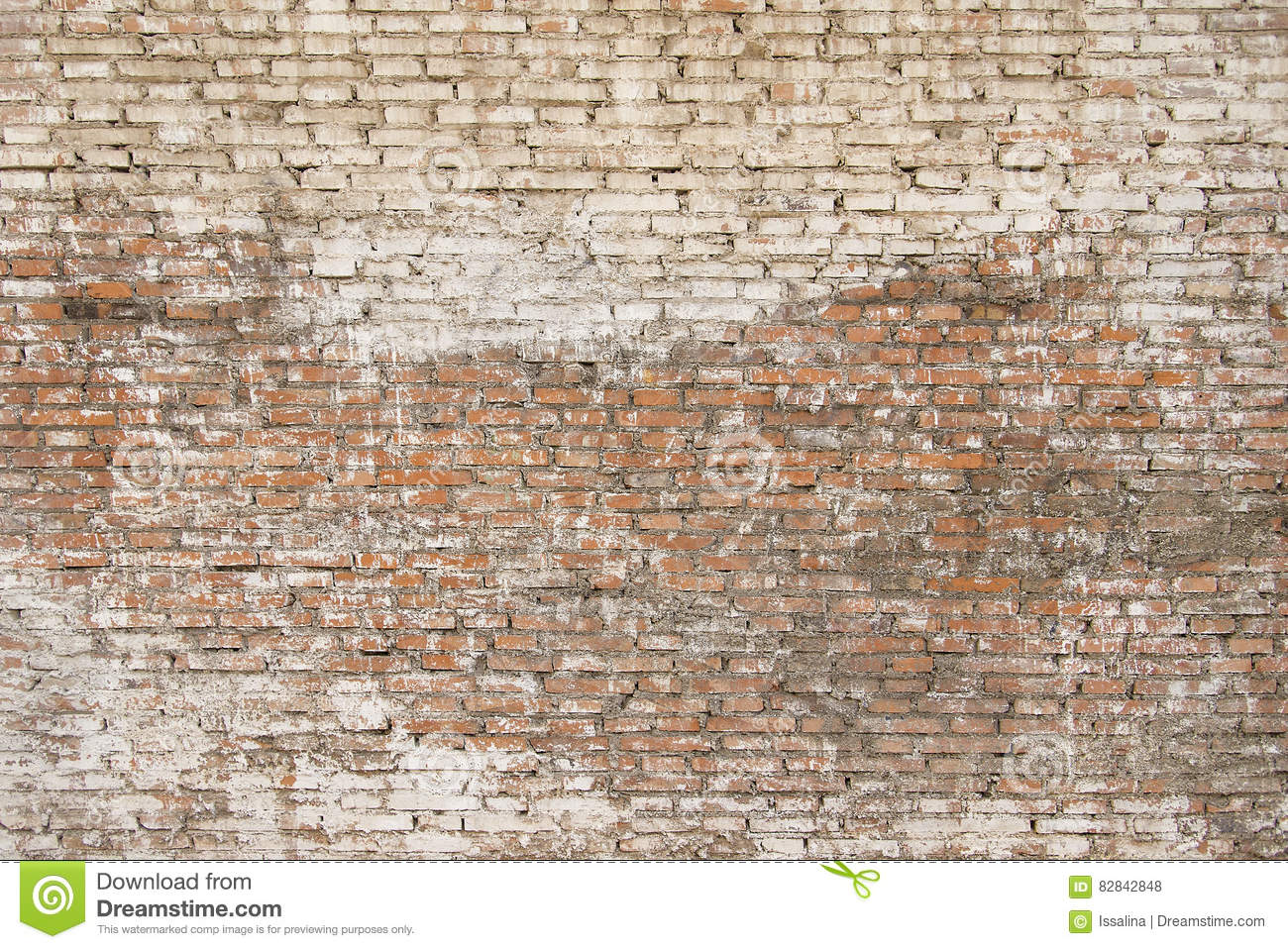 Old Brick Wall With White Paint Background Texture Stock