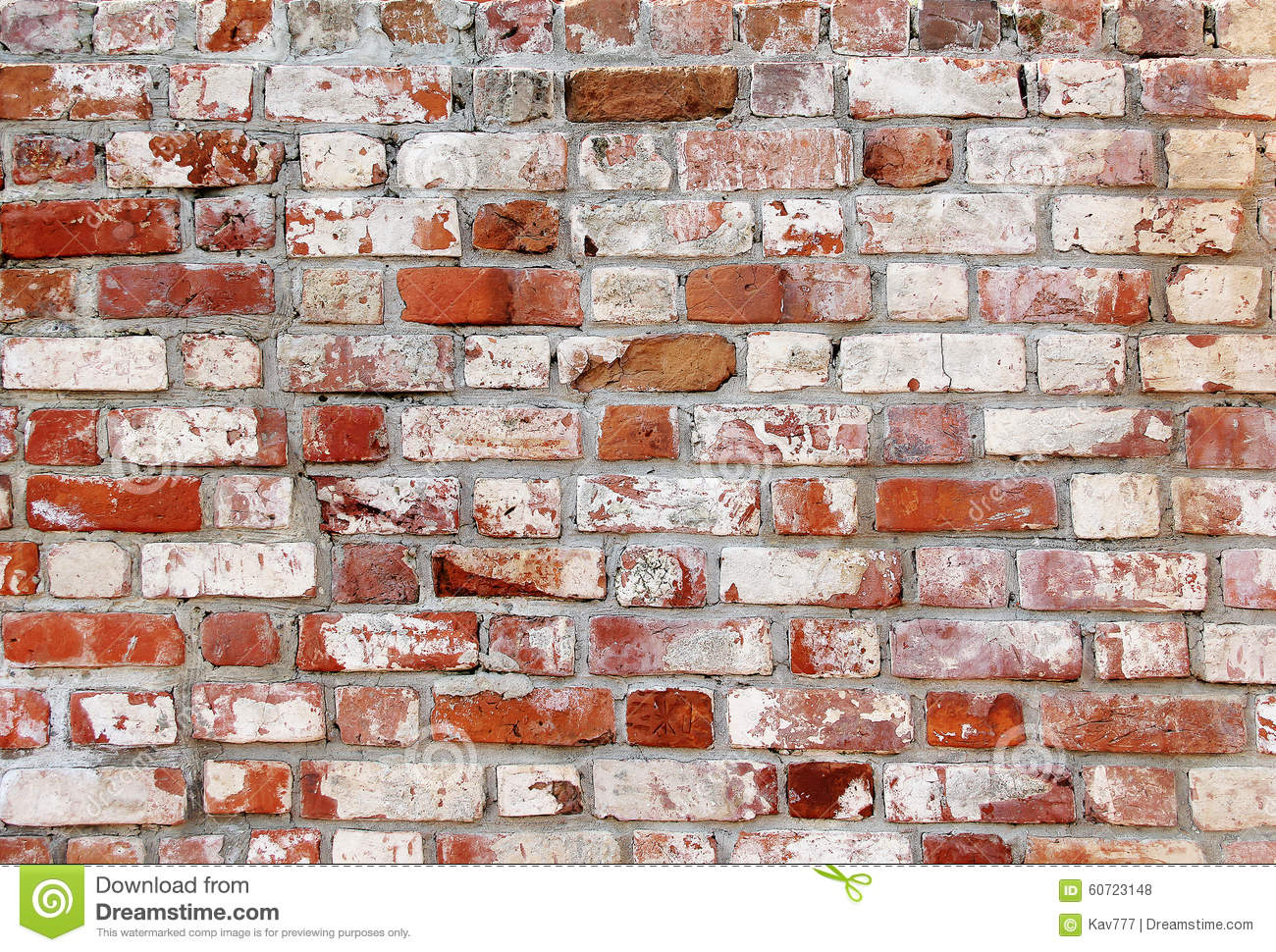 Old Brick Wall With White And Red Bricks Stock Photo