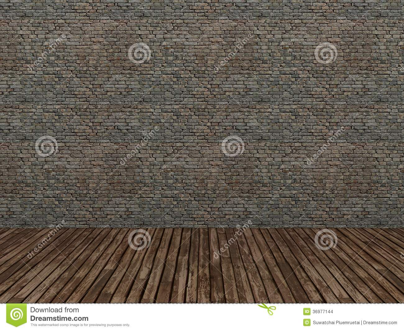 Old Brick Wall And Wood Floor 3d Stock Images Image