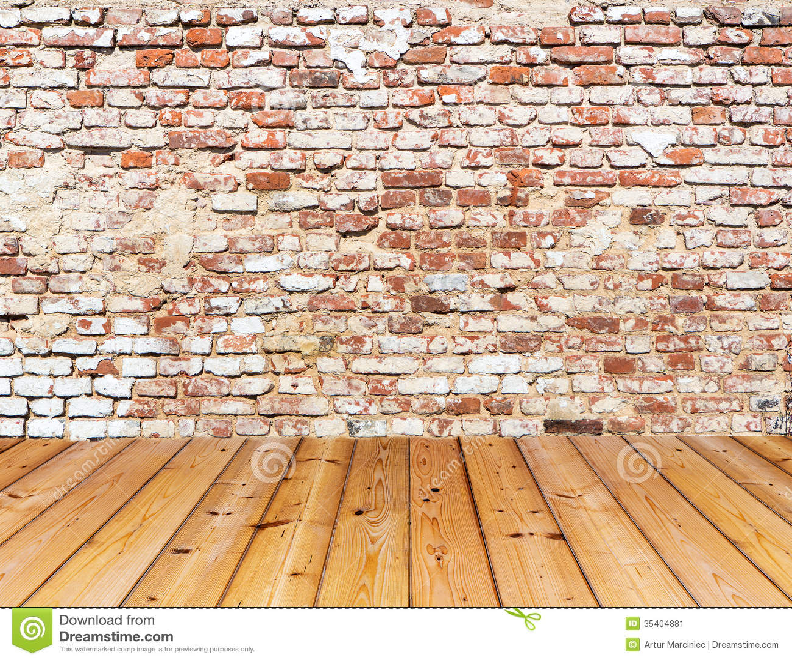 Interior Brick Flooring Pricing : Old brick wall on wood floor stock image