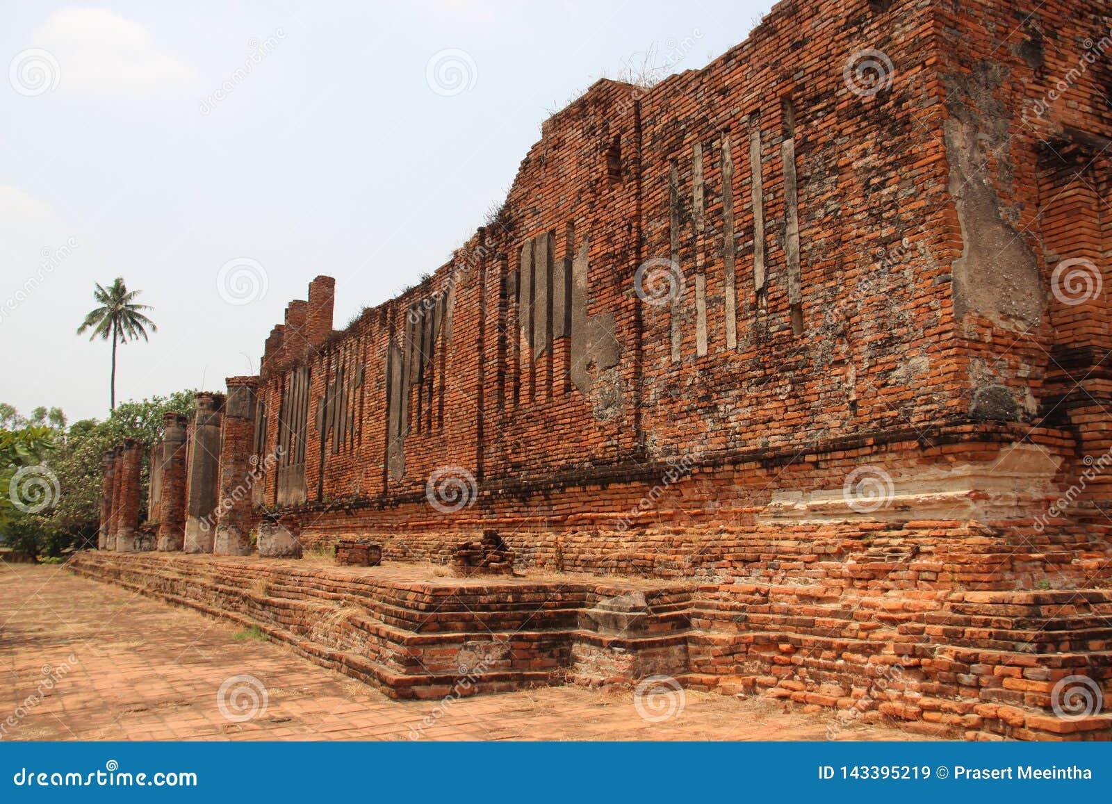 Old Bricks Walls With Pillars Sunlight
