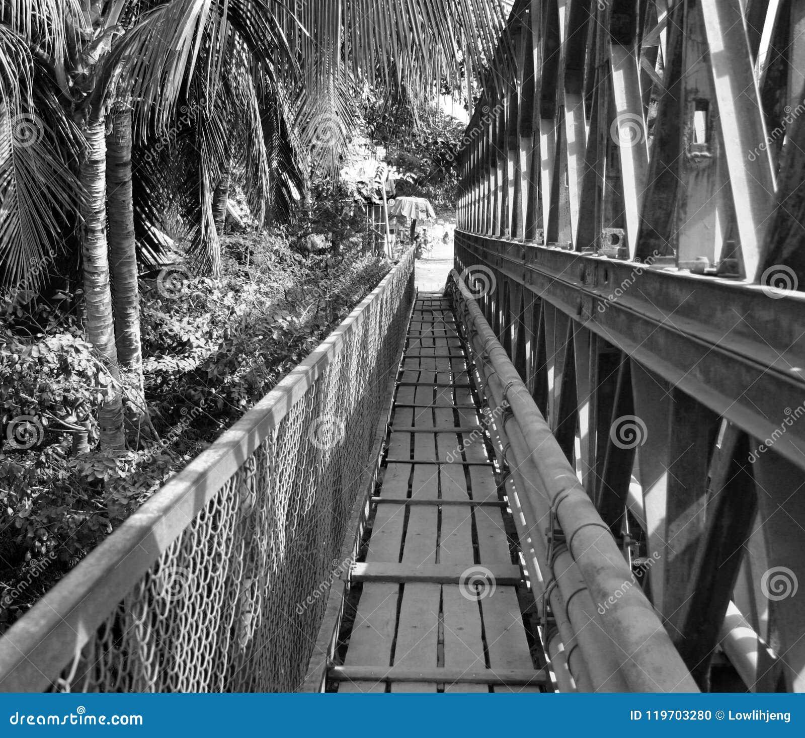 Old bridge across Mekong River, Luang Prabang,Laos