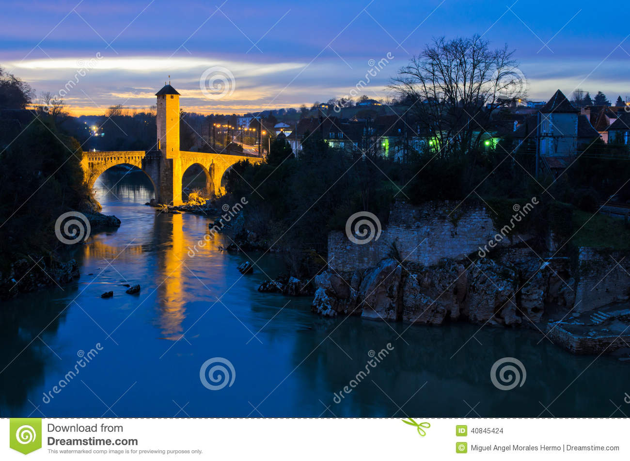 Orthez France  city photos : Medieval town bridge of Orthez France at night.
