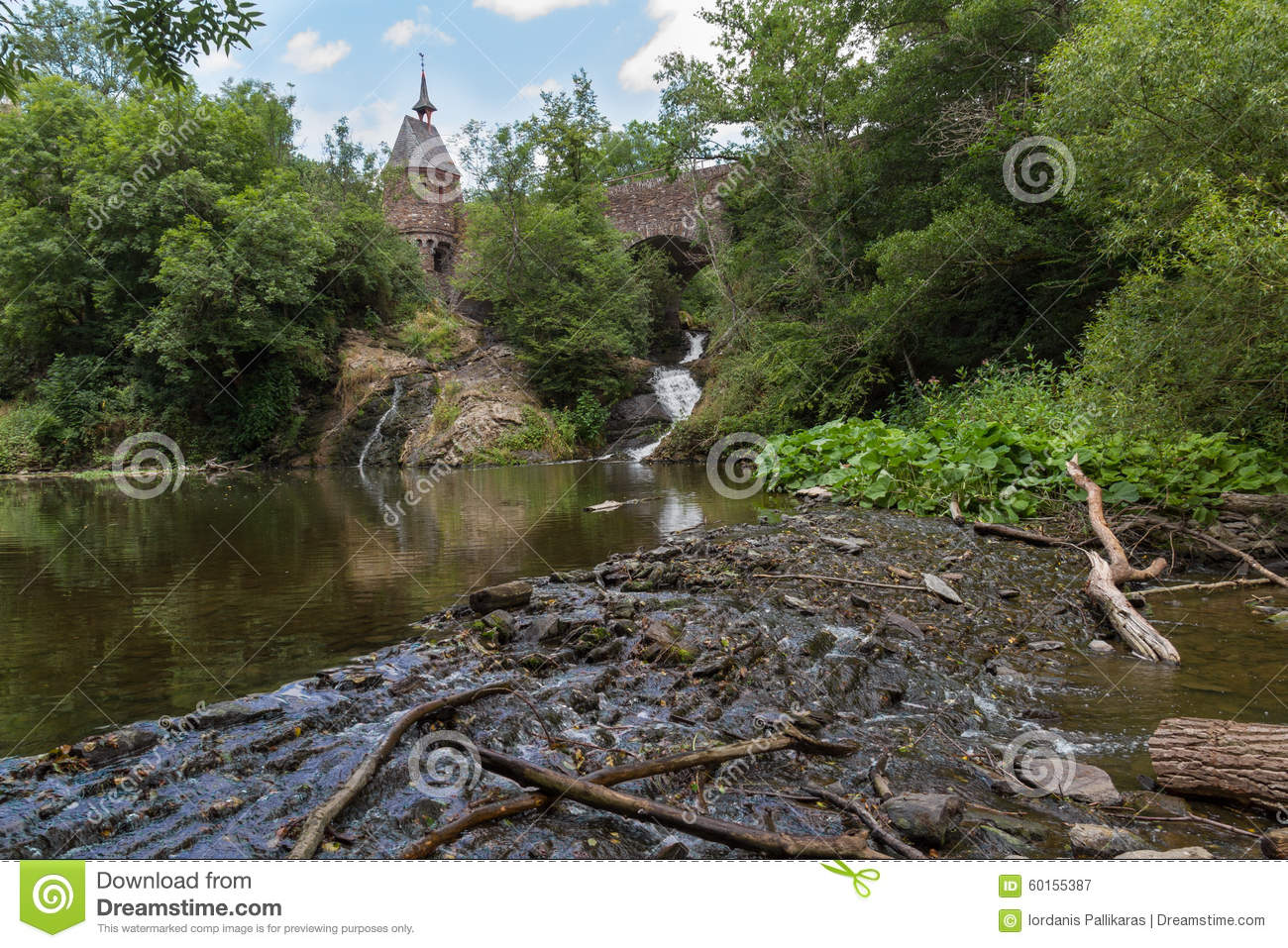 Old Bridge Waterfall And Tree Branches Elzbach Creek Germany