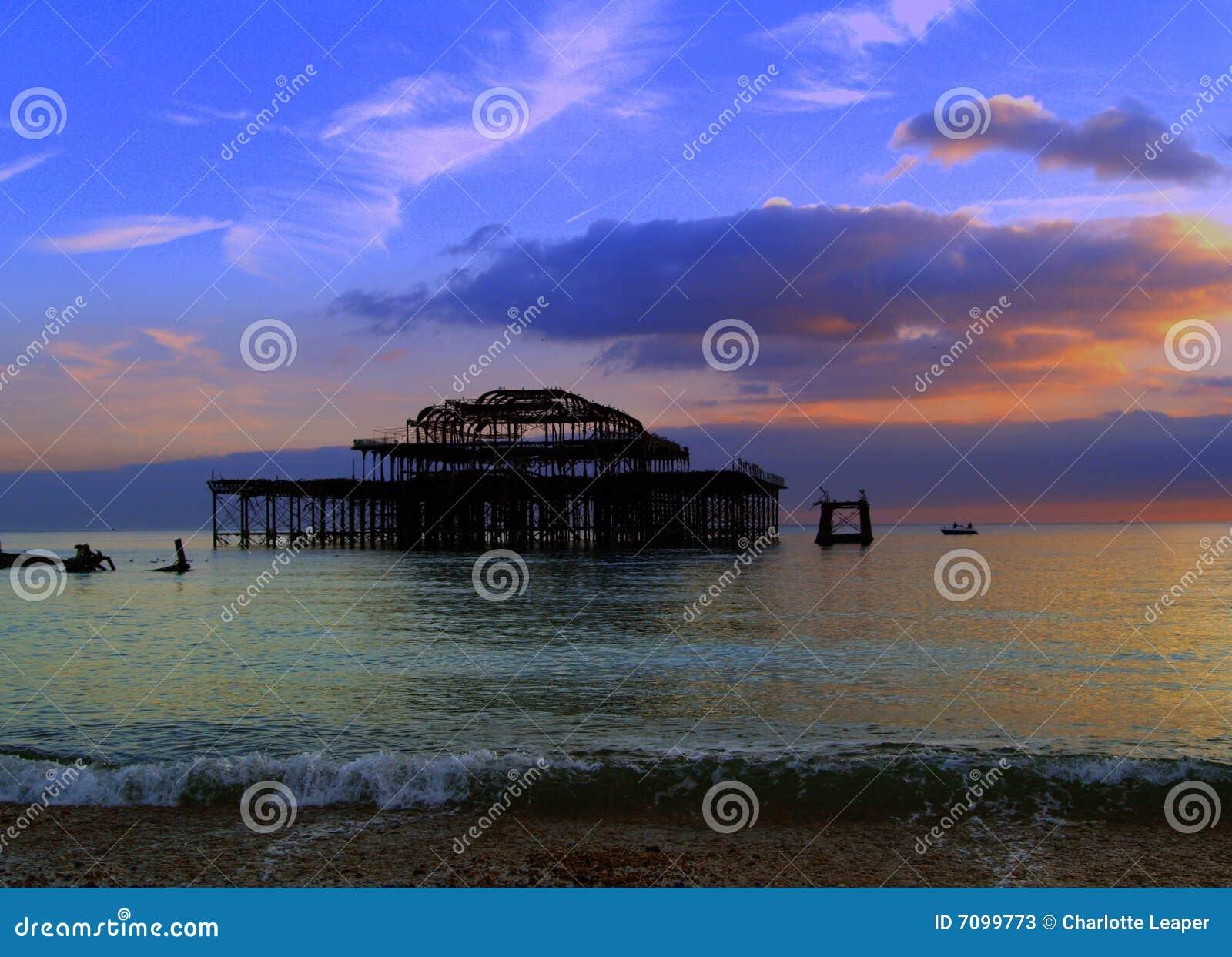 Old Brighton Pier sunset, England landscape