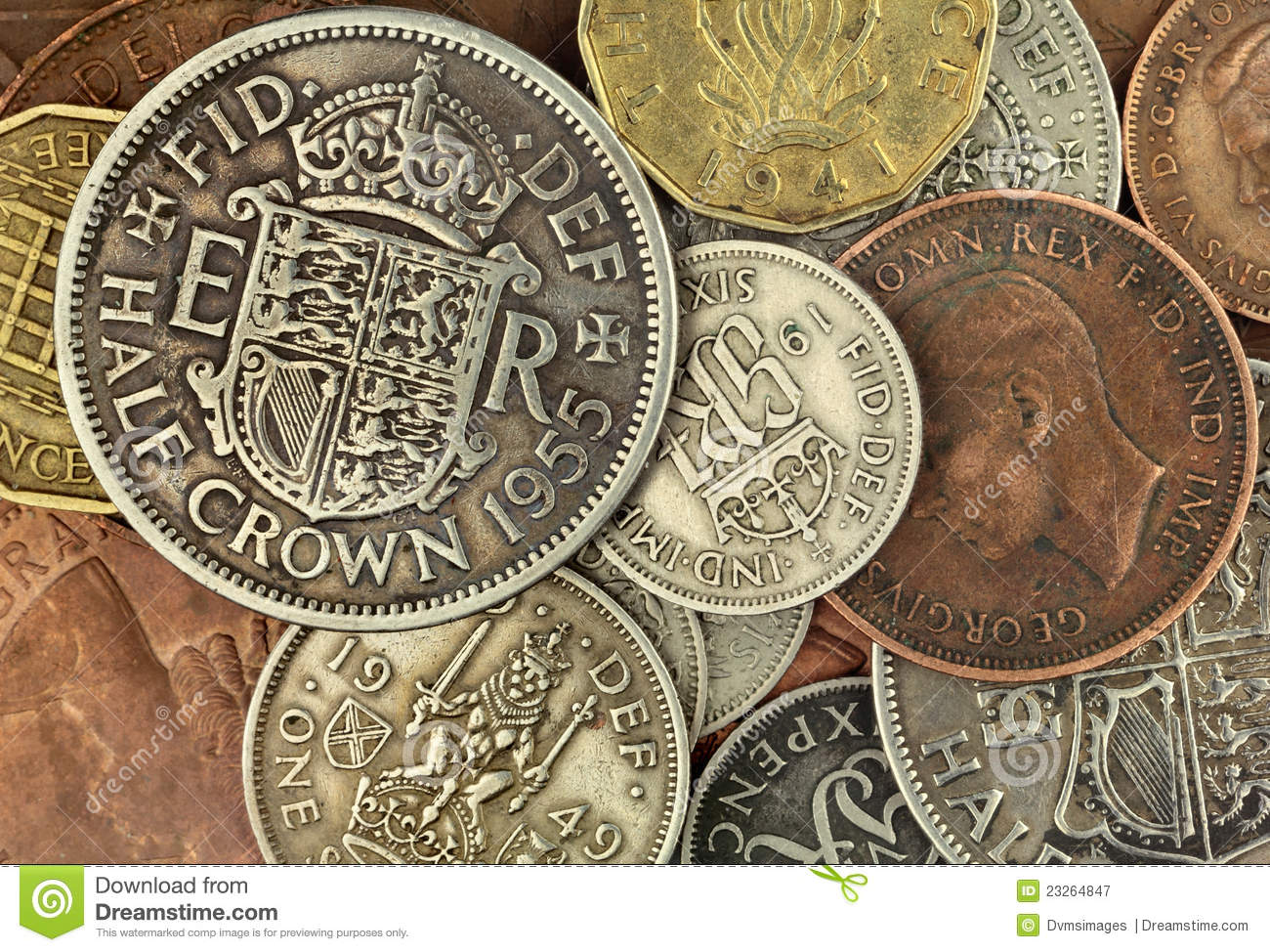 Old British Coins stock image  Image of coinage, sixpence - 23264847