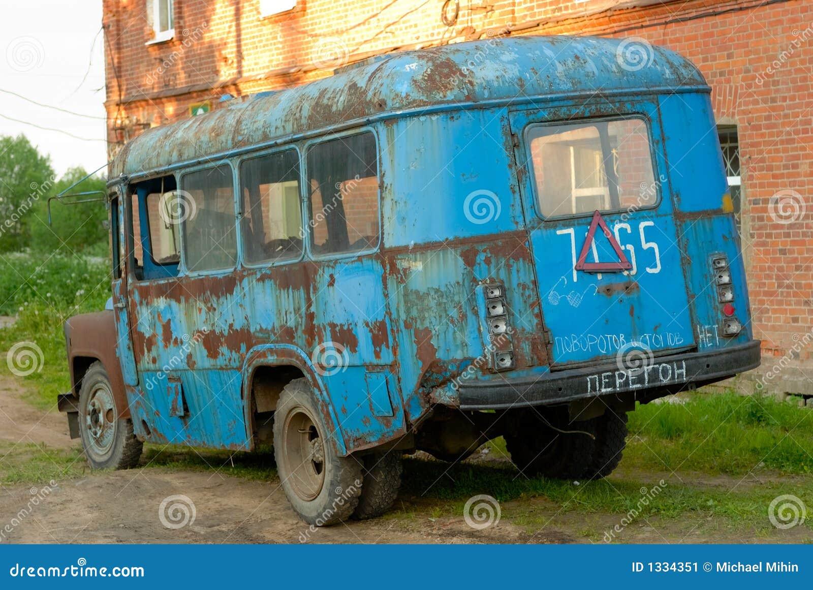 old broken bus stock image