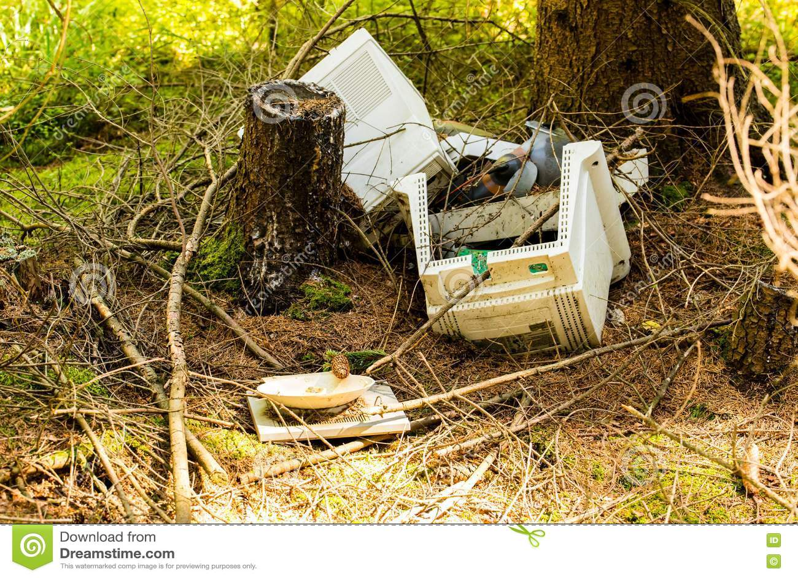 Old broken computer dumped in the woods