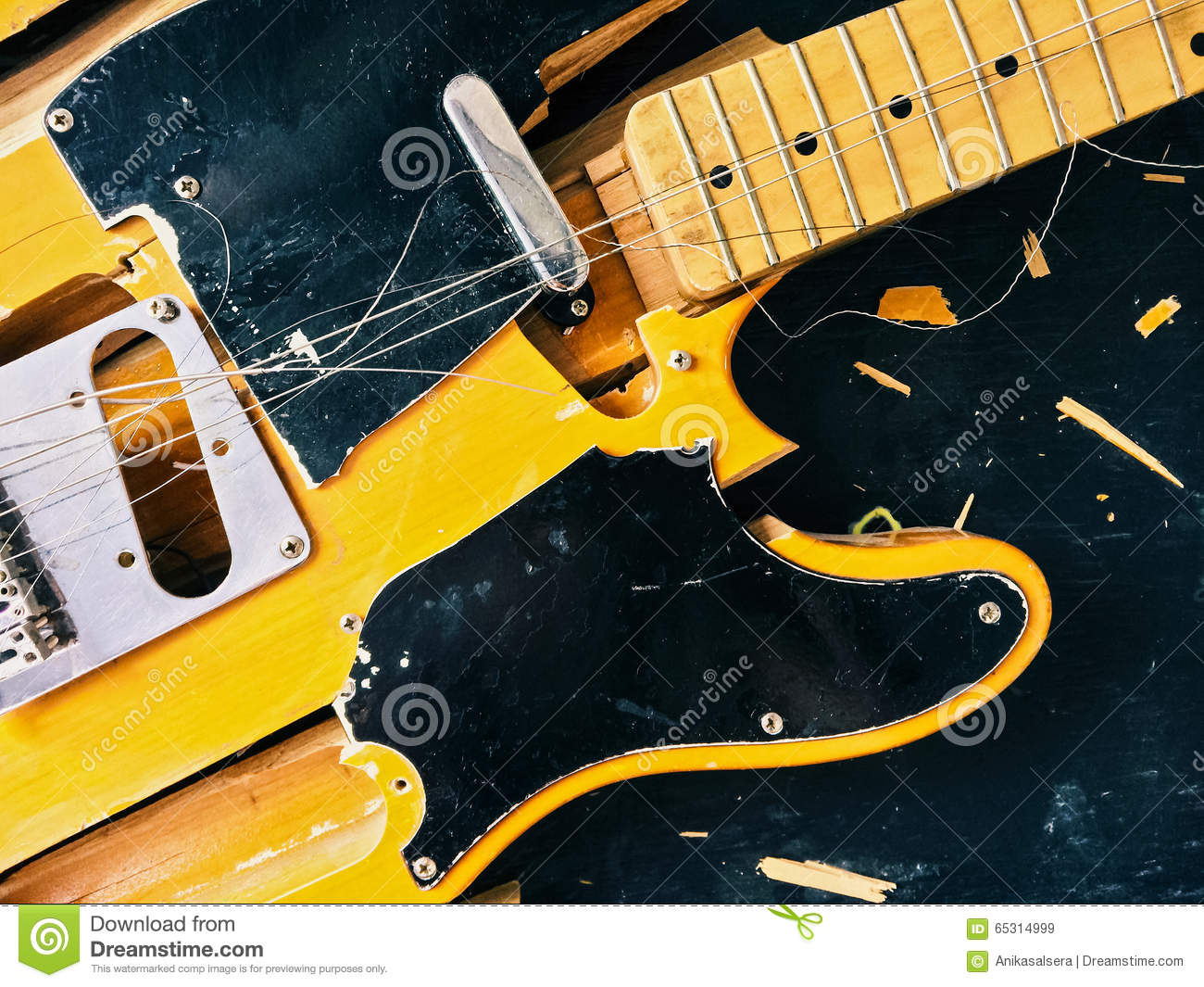 Old Broken Electric Guitar Stock Image Image Of Heavy