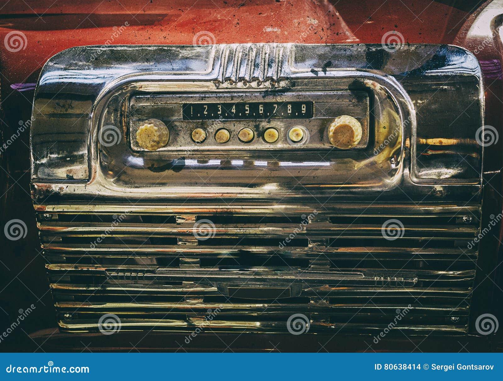 Old Broken Radio In Retro Bus  Stock Photo - Image of part