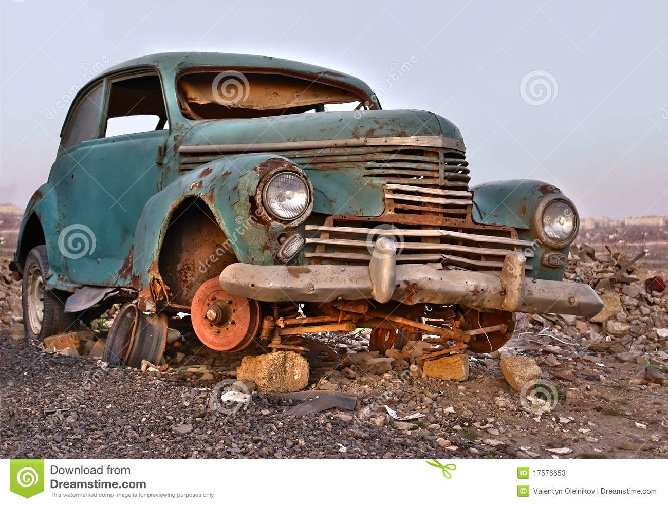 old broken rusty abandoned car stock image image 17576653. Black Bedroom Furniture Sets. Home Design Ideas