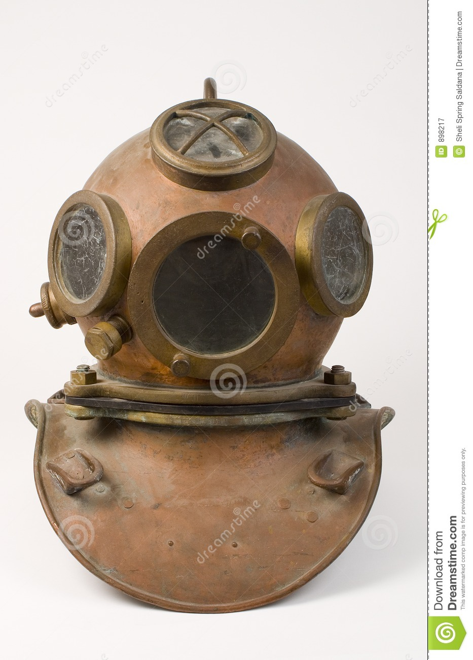 old bronze diving helmet royalty free stock photography