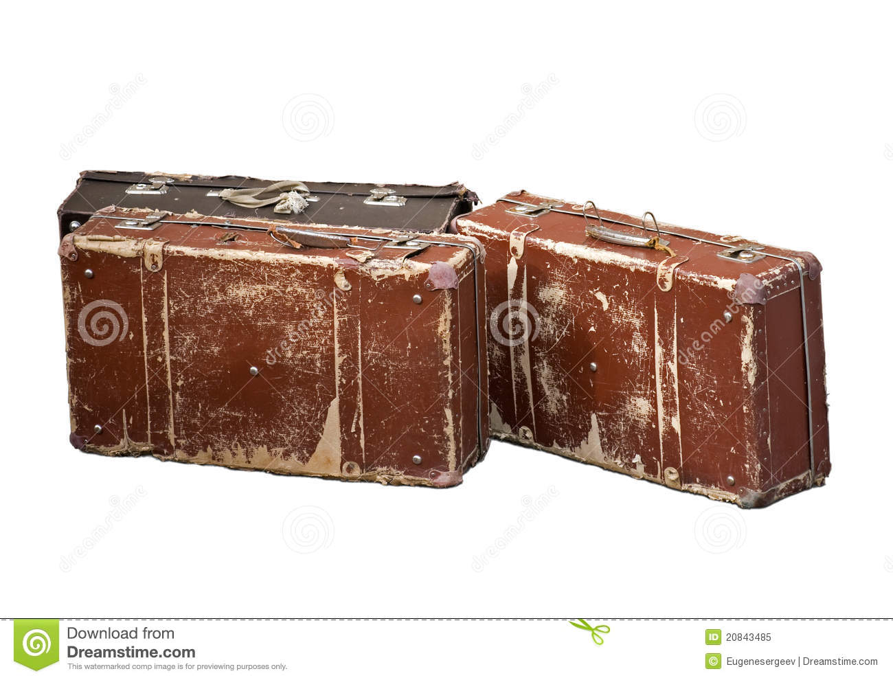 Old Brown Cheap Suitcases Royalty Free Stock Photo - Image: 20843485